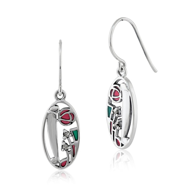 Rennie Mackintosh Marcasite & Enamel Drop Earrings Image 1