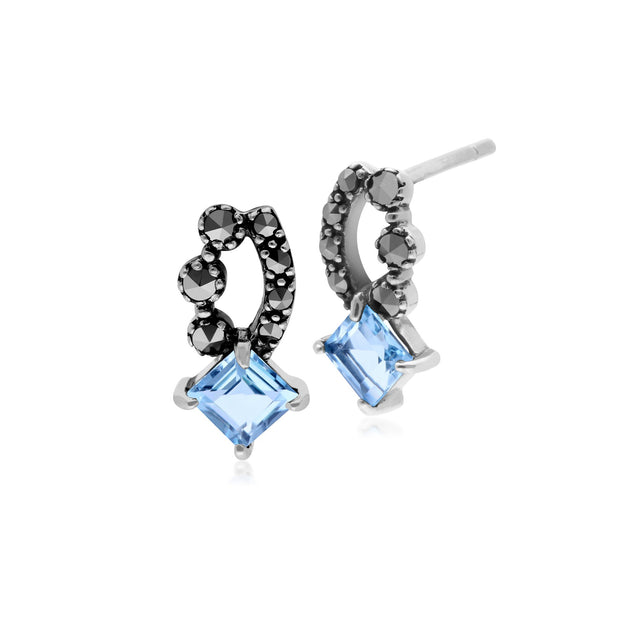Art Nouveau Blue Topaz & Marcasite Stud Earrings Image 1