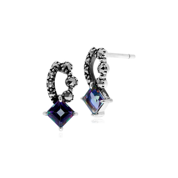 Art Nouveau Mystic Topaz & Marcasite Stud Earrings Image 1