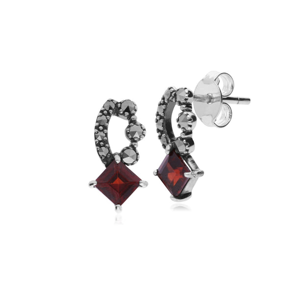 Art Nouveau Garnet & Marcasite Stud Earrings Image 1