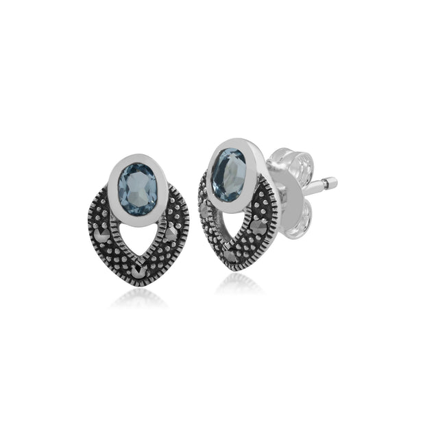 Art Deco Blue Topaz & Marcasite Stud Earrings Image 1
