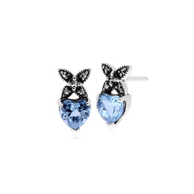 Classic Blue Topaz & Marcasite Heart Cross Stud Earrings Image 1