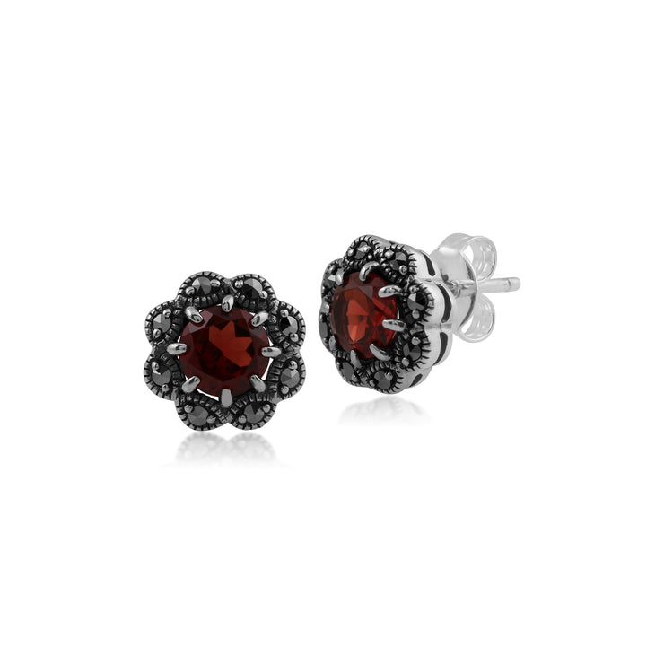 Art Nouveau Garnet & Marcasite Floral Stud Earrings & Ring Set Image 2