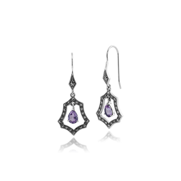 Art Nouveau Amethyst & Marcasite Halo Drop Earrings Image 1