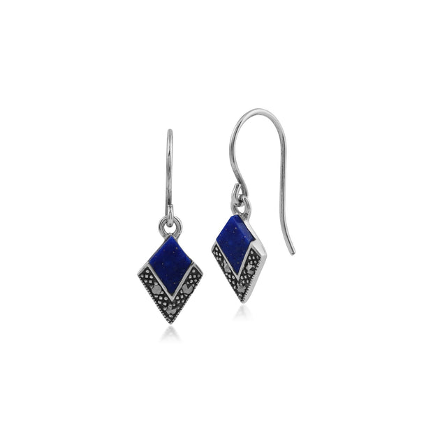 Art Deco Lapis Lazuli & Marcasite Diamond Shape Drop Earrings Image 1
