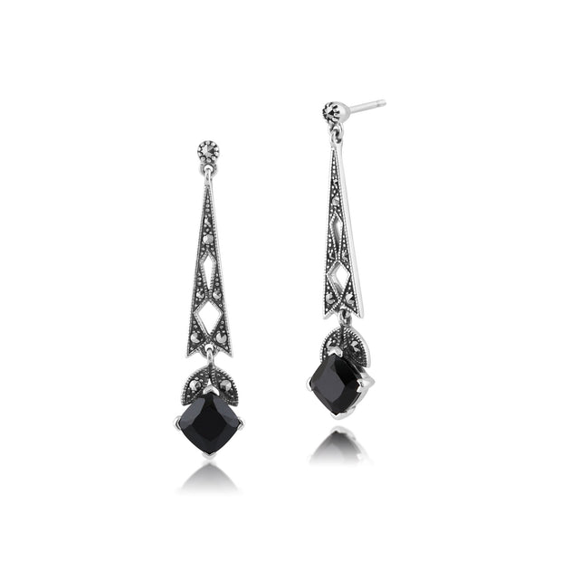 Art Deco Black Spinel & Marcasite Drop Earrings Image 1