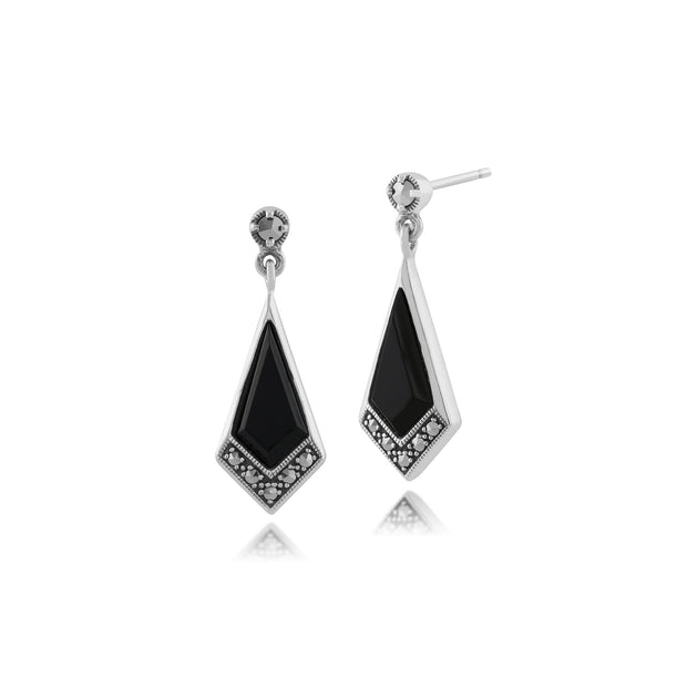 Art Deco Black Onyx & Marcasite Kite Drop Earrings Image 1
