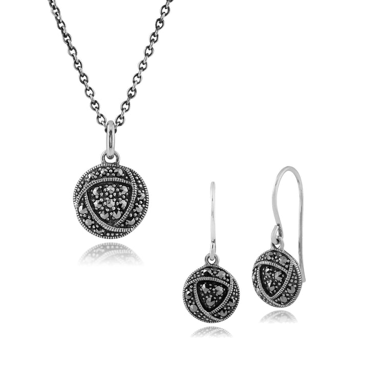 Rennie Mackintosh Marcasite Rose Drop Earrings & Pendant Set Image 1
