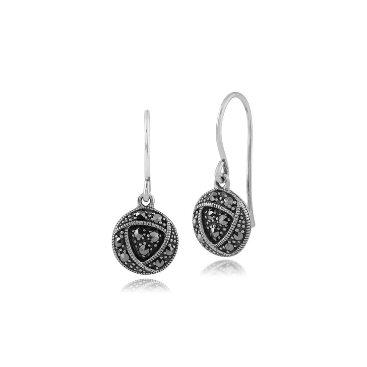 Rennie Mackintosh Marcasite Rose Drop Earrings & Pendant Set Image 2