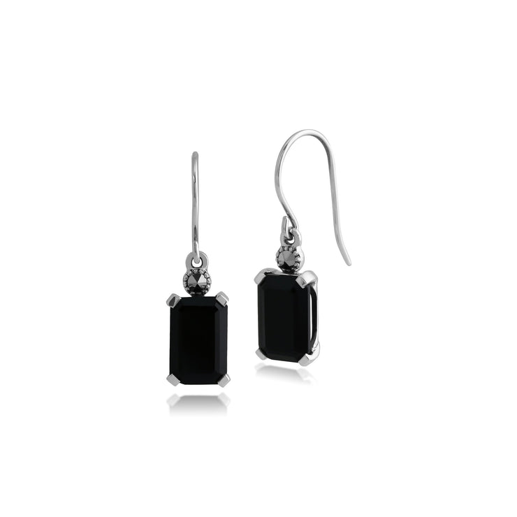 Art Deco Octagon Black Onyx & Marcasite Drop Earrings Image 1