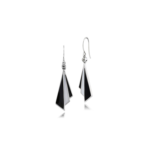 Art Deco Black & White Enamel Fan Drop Earrings Image 1
