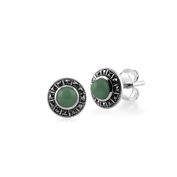 Art Deco Jade & Marcasite Halo Stud Earrings Image 1