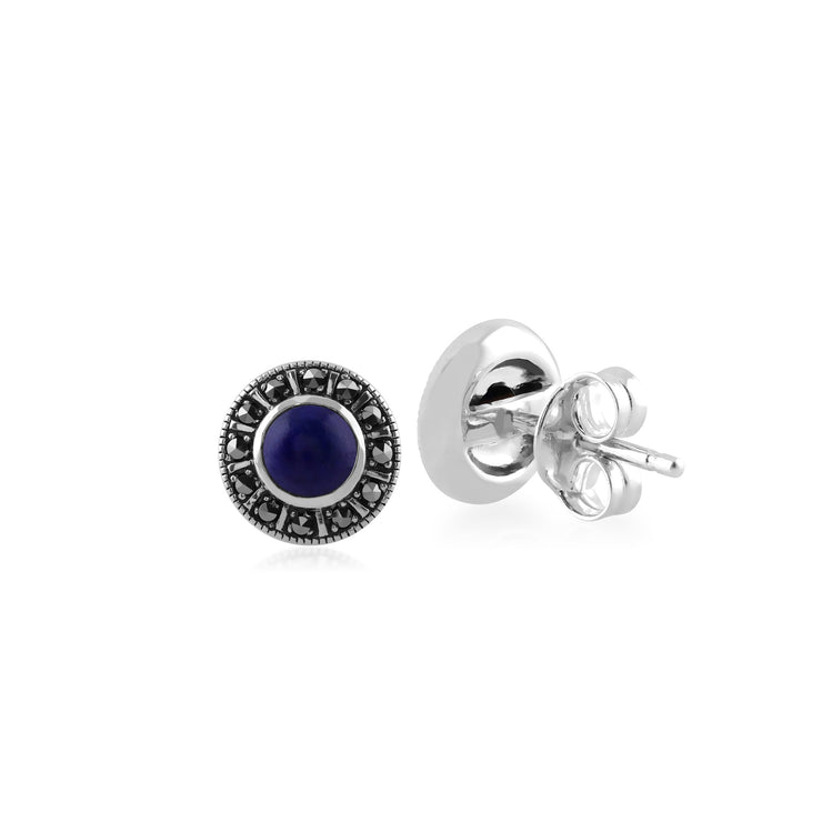 Art Deco Lapis Lazuli & Marcasite Halo Stud Earrings Image 2