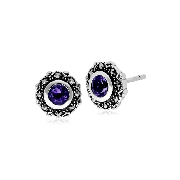 Art Nouveau Amethyst & Marcasite Floral Stud Earrings Image 1