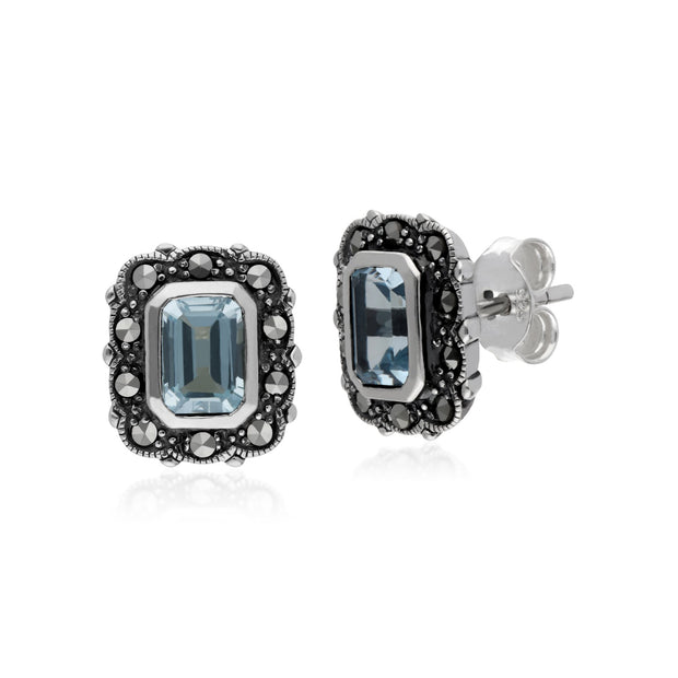 Art Deco Octagon Blue Topaz Stud Earrings Image 1