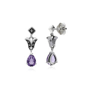 Art Nouveau Amethyst Drop Earrings Image 2