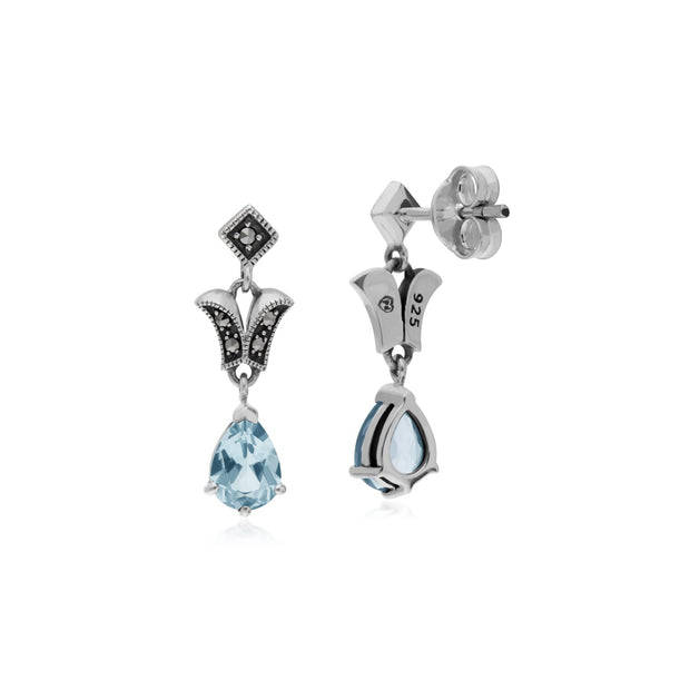 Art Nouveau Blue Topaz Drop Earrings Image 2