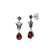 Art Nouveau Garnet Drop Earrings Image 1