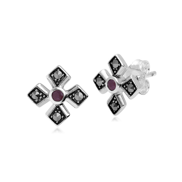 Art Deco Ruby & Marcasite Gothic Studs Image 1