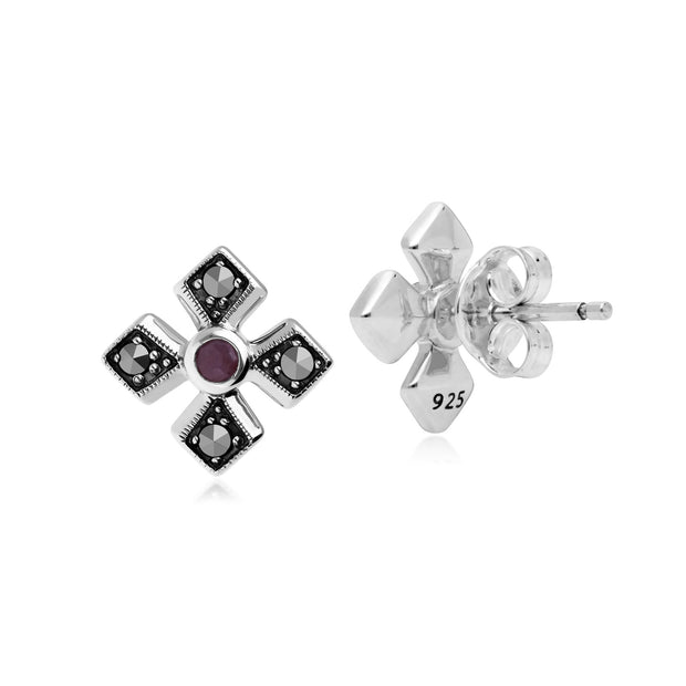 Art Deco Ruby & Marcasite Gothic Studs Image 2