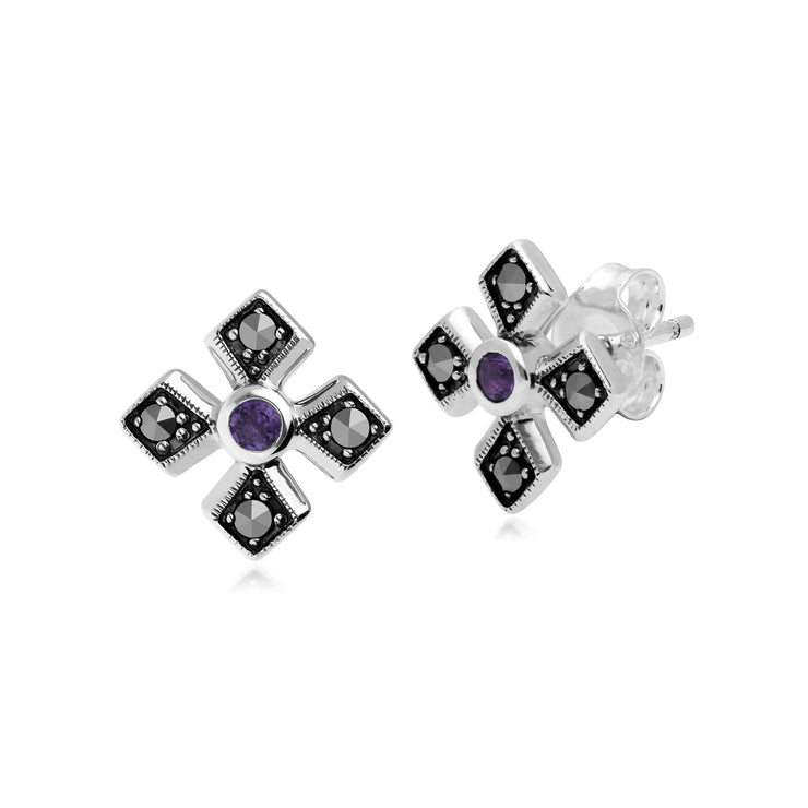 Art Deco Amethyst & Marcasite Gothic Studs Image 1