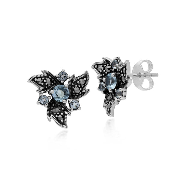 Art Nouveau Blue Topaz & Marcasite Floral Stud Earrings Image 1