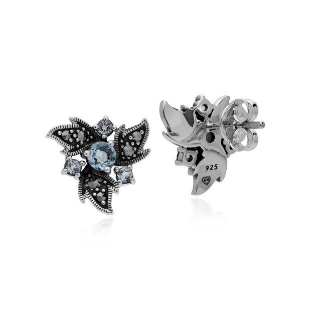 Art Nouveau Blue Topaz & Marcasite Floral Stud Earrings Image 2