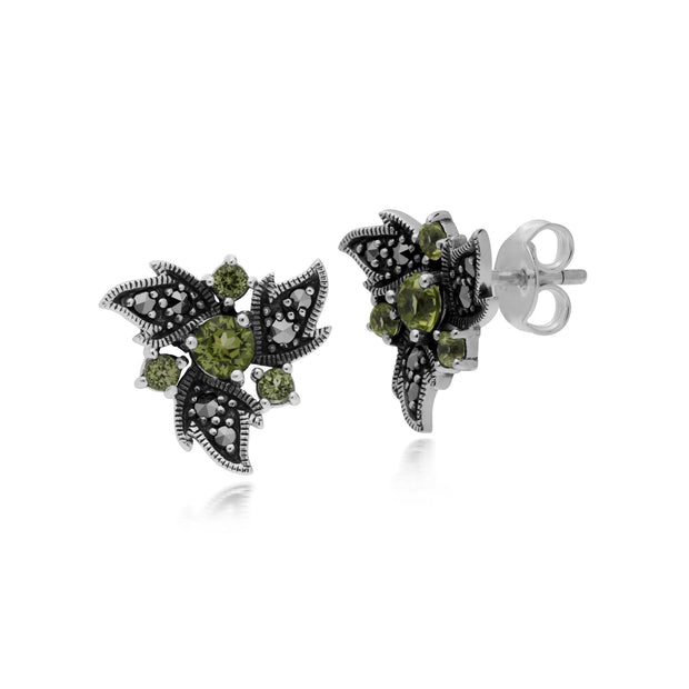 Art Nouveau Peridot & Marcasite Floral Stud Earrings Image 1
