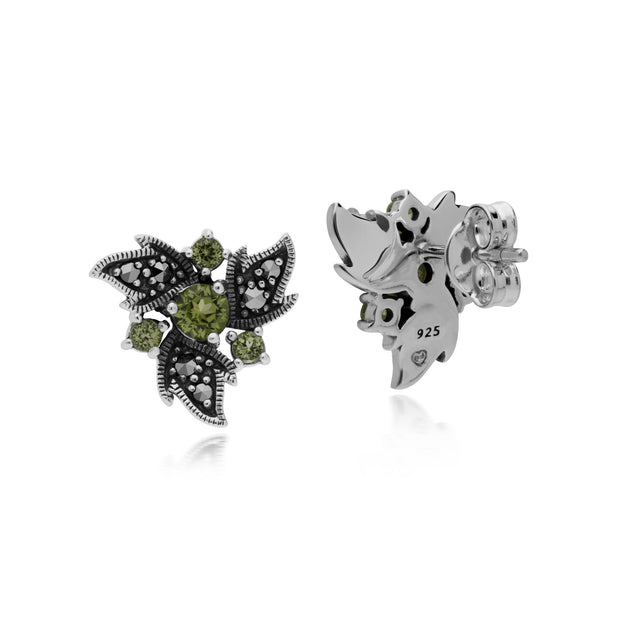 Art Nouveau Peridot & Marcasite Floral Stud Earrings Image 2