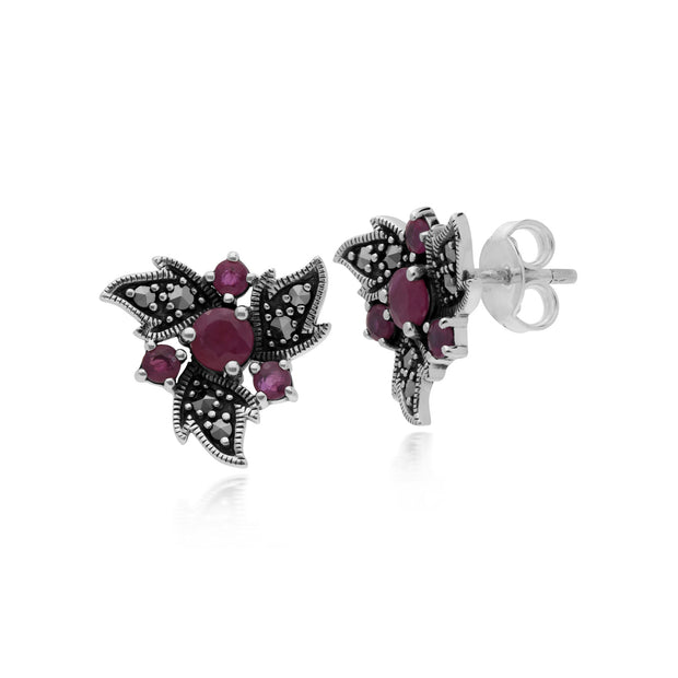 Art Nouveau Ruby & Marcasite Floral Stud Earrings Image 1