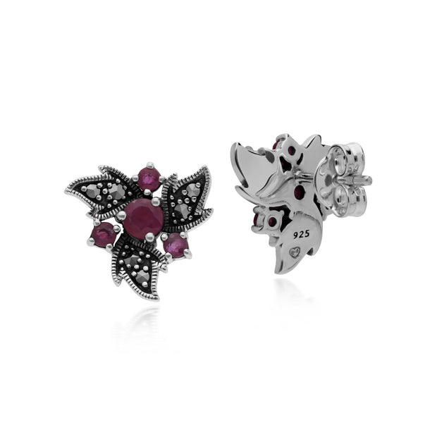 Art Nouveau Ruby & Marcasite Floral Stud Earrings Image 2