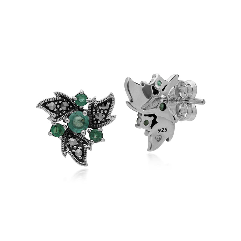 Art Nouveau Emerald & Marcasite Floral Stud Earrings Image 2