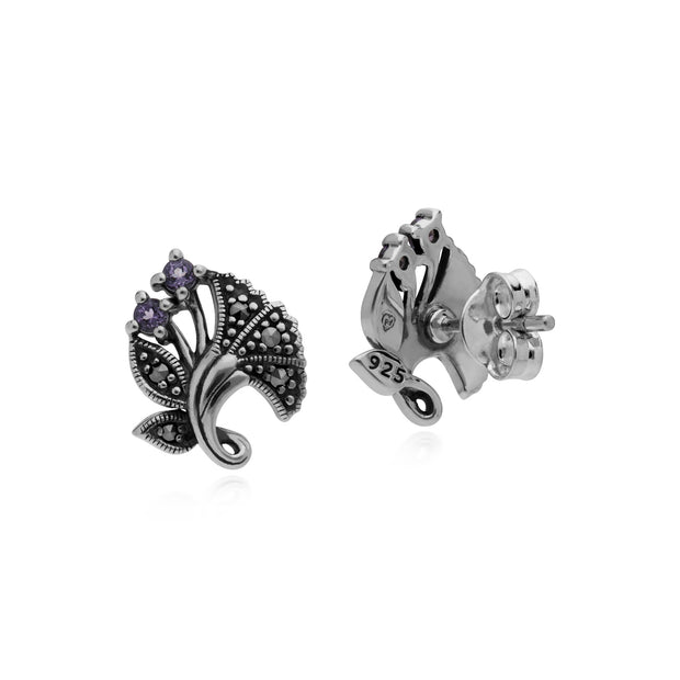 Art Nouveau Amethyst Leaf Stud Earrings Image 2