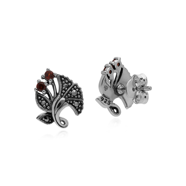 Art Nouveau Garnet Leaf Stud Earrings Image 2
