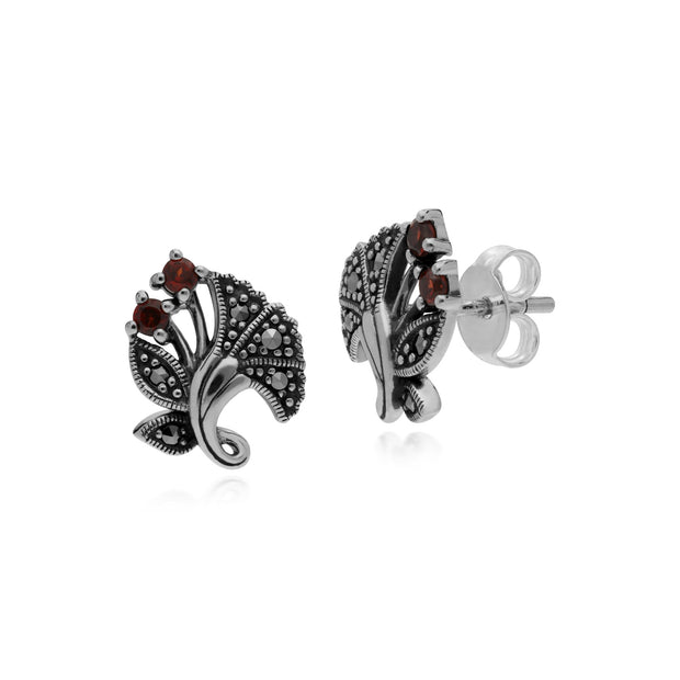 Art Nouveau Garnet Leaf Stud Earrings Image 1