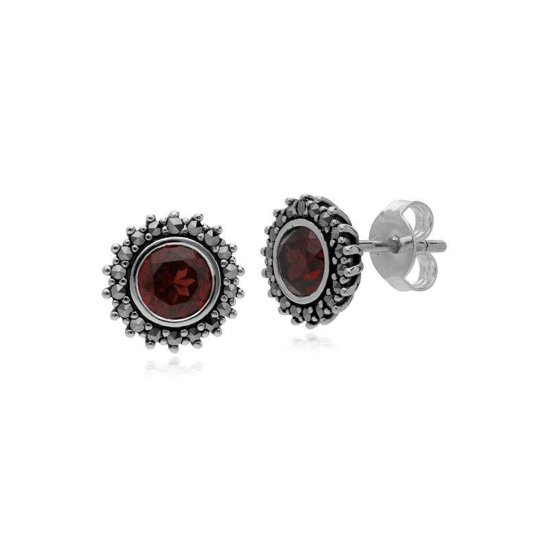 Art Deco Garnet & Marcasite Halo Stud Earrings Image 1
