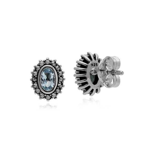 Art Deco Blue Topaz & Marcasite Halo Stud Earrings Image 2