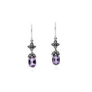 Art Nouveau Amethyst Drop Earrings Image 1
