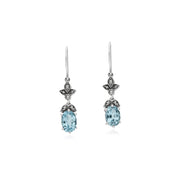 Art Nouveau Blue Topaz Drop Earrings Image 1