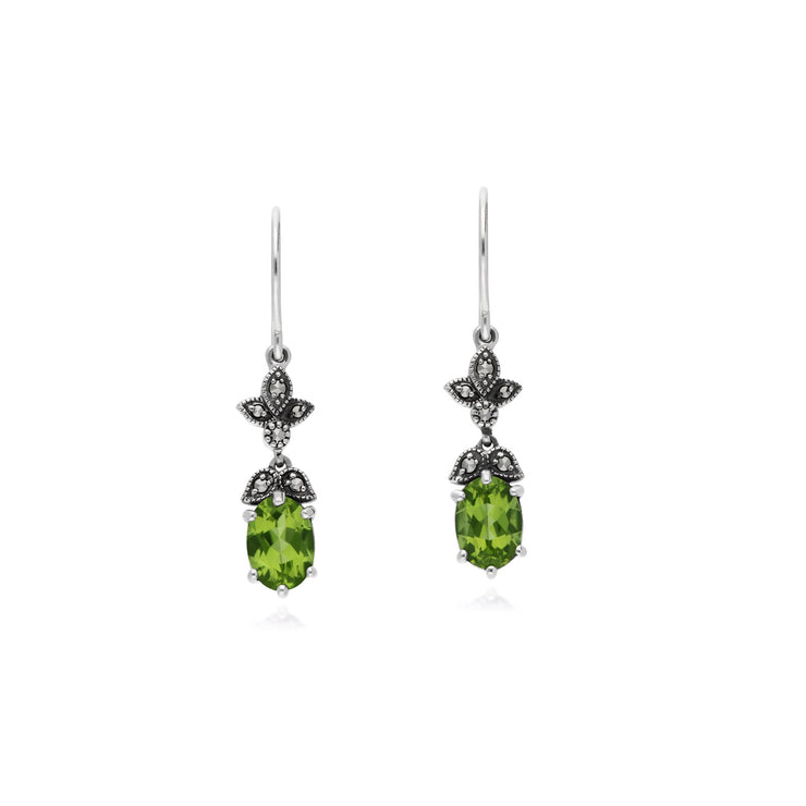 Art Nouveau Peridot Drop Earrings Image 1