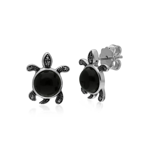 Animal Black Onyx & Marcasite Turtle Stud Earrings Image 1