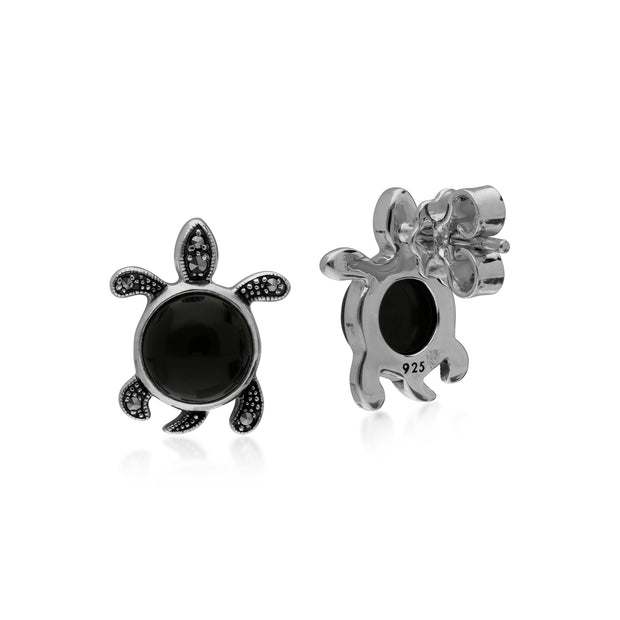Animal Black Onyx & Marcasite Turtle Stud Earrings Image 2
