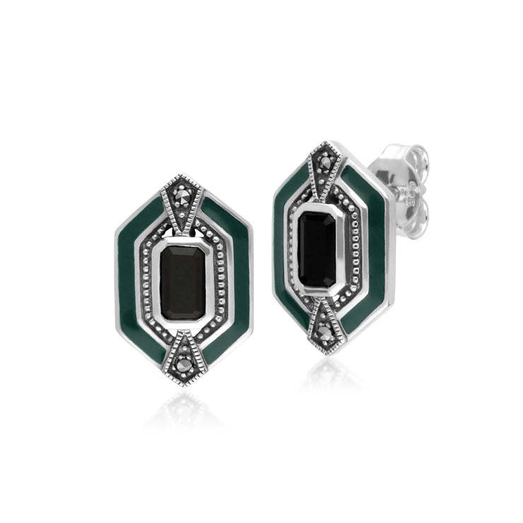 Art Deco Onyx Marcasite & Enamel Stud Earrings Image 1