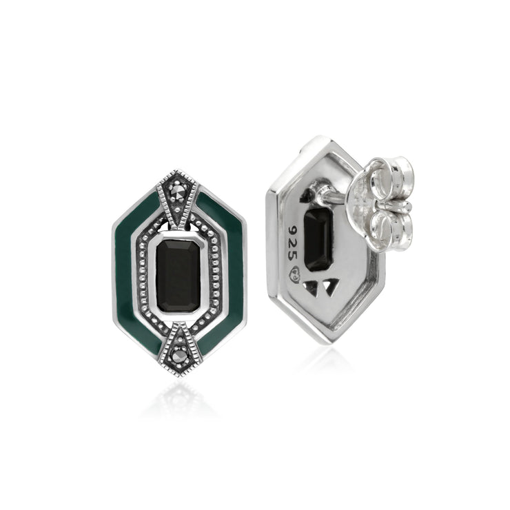Art Deco Onyx Marcasite & Enamel Stud Earrings Image 2