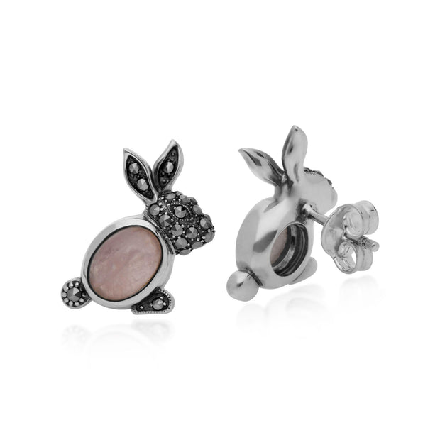 Animal Rose Quartz & Marcasite Rabbit Stud Earrings Image 2