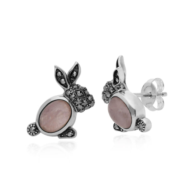 Animal Rose Quartz & Marcasite Rabbit Stud Earrings Image 1