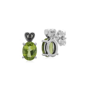 Art Deco Peridot & Marcasite Stud Earrings Image 2