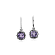 Art Deco Amethyst & Marcasite Drop Earrings Image 1