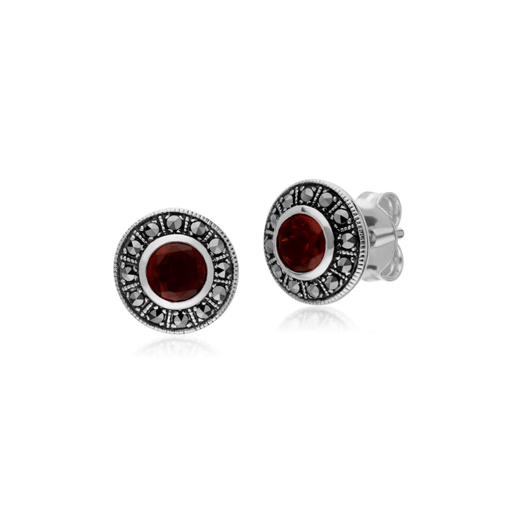 Art Deco Garnet & Marcasite Stud Earrings Image 1