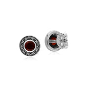 Art Deco Garnet & Marcasite Stud Earrings Image 2